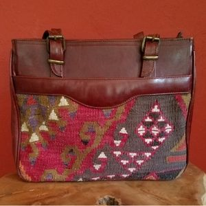 Vintage Turkish Kilim/Leather Medium  Purse